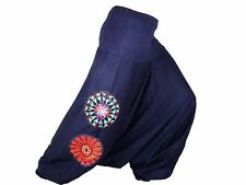 Sarouel Femme Pantalon Ethnique Aladin Harem Pant 100% Coton bleu marine