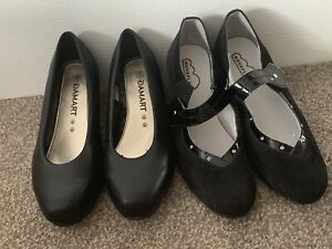 NEW TWO PAIRS OF LADIES GIRLS BLACK COURT SHOES BUNDLE UK SIZE 4 GREAT CONDITION