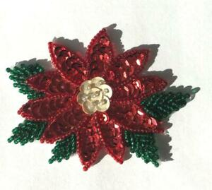 Vintage 1980's Christmas Poinsettia Beaded Sequined Applique Sew On Craft Patch