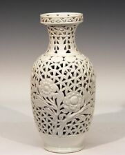 Antique Chinese Porcelain Vase Lamp Reticulated Carved Blanc de Chine Old Mark