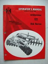 Original International 122 Disk Harrow Operators Owners Manual 1972