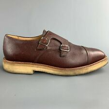MARC MCNAIRY Size US 10 Brown Leather Double Monk Strap Loafers