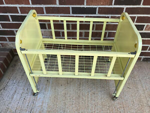 "Vintage Yellow Metal ""Doll-E-Crib"" by Amsco Adjustable Side Rail 1950s"