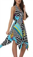 Womens Printed Halter Neck Backless Sleeveless Hanky Hem Ladies Flared Dress8-26