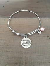 Thank you for raising the woman of my dreams bracelet, mother of bride gift