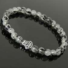 Men's Women Black Rutilated Quartz Bracelet Sterling Silver Buddha Bead 1038