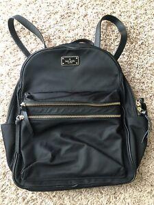 Kate Spade Nylon Black Medium Sized Backpack 15x14x4 Inches
