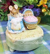 Beatrix Potter Music Box Hunca Munca with babies in cradle rocks