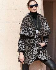 $560 BNWT Tahari Marla Leopard Wrap Wool Oversized Coat Jacket Shawl Collar XS