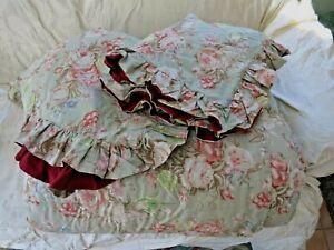 Ralph Lauren Charlotte Sage Green Comforter/Bedspread + Shams Full Queen Vintage