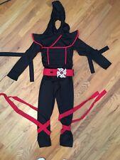 """Black Hooded Ninja Costume, Boys Size Large 38-42"""". Jump suit with hood!"""