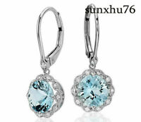 Women's Aquamarine Wedding Engagement Drop Dangle Earrings Silver Jewelry Gifts