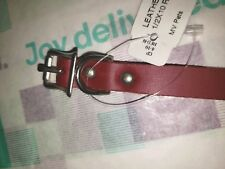 """LEATHER PUPPY COLLAR 10"""" X 1/2"""" RED MADE IN USA"""