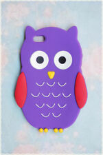 cover morbida Iphone 4/4s forma di gufo di colore viola con ali rosse