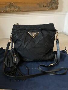 100% AUTHENTIC Prada Black Nylon & Leather Crossbody Messenger Black Bag £995