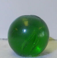 8727m Vintage German Handmade Green Glass Clearie Marble .70 Inches