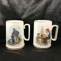 Pair of Norman Rockwell Museum Mugs For a Good Boy Looking Out to Sea