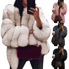 Women Fluffy Faux Fur Winter Coat Jacket Warm Parka Outerwear Overcoat Surprise