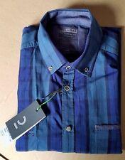 NEW CALAMAR Smart Traveller Casual Fit Shirt, Blue/Green Stripe - L (41-42)