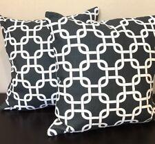 Pillows Black White 18 x 18 Geometric Design CUSTOM  Home Decor Zipper NEW Pair