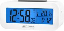 ACCTIM Varley Radio Controlled LCD Alarm Clock in White Light Temperature Date