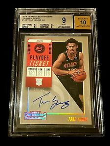 TRAE YOUNG 2018 CONTENDERS #142 PLAYOFF TICKET AUTO ROOKIE RC /65 BGS 9 10 HAWKS