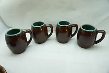 Antique Stoneware Mugs Set 4 Brown Green Glaze Pottery Green 1.5 Lbs Ea Tankard