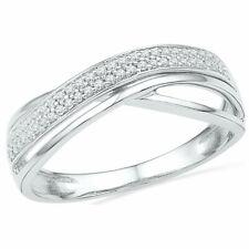 10k White Gold Womens Round Diamond Crossover Band Fashion Ring 1/6