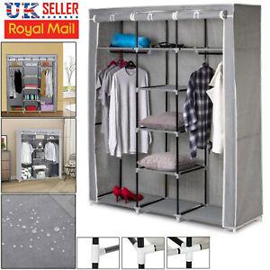 Canvas Wardrobe Hanging Fabric Clothes Storage Rail Cupboard Shelving Shelves UK