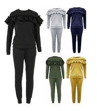 Ladies Frill Detail Top & Jogger Two Piece Womens Lounge Wear Suit Set Plus Size