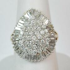 14 Carat Yellow Gold Cluster Engagement Fine Diamond Rings