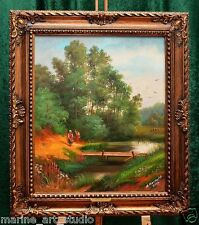 "RUSSIAN ""OLD  COUNTRY LANDSCAPE"" LARGE PAINTING FREE BAROQUE FRAME NAME PLATE"