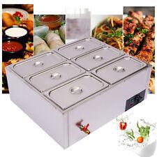 850w Bain Marie Buffet Food Warmer 6 Pots Steamer Stainless Steel Countertop Us