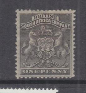 RHODESIA, 1892 Arms, 1d. Black, heavy hinged.
