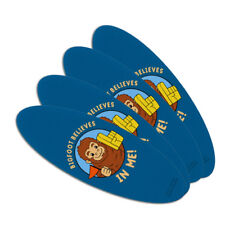 Bigfoot Believes in Me Funny Humor Oval Nail File Emery Board 4 Pack