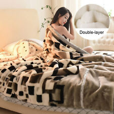 Thicken Raschel Blanket Queen King Size Bed Double-layer Soft Flower Bed Cover