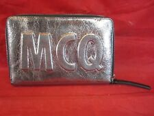 McQ Alexander McQueen Oversized Silver Crackle Leather Logo Travel Wallet