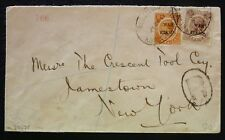 Jamaica 1917 Rec Cover from Kingston to NY with a War Stamps Bicoloured franking