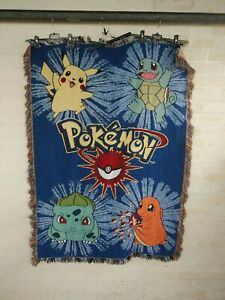 Vintage 90s Pokemon Woven Rug Tapestry Blanket Throw Wall Hanging Cartoon Cards