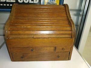 Vintage Countertop wood  Secretary Desk w porcelaine ink pots