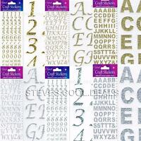 UK STICKERS LETTERS and NUMBERS ALPHABET GLITTER BOLD Card Making Self Adhesive