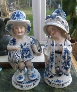 PAIR OF ANTIQUE PORCELAIN CHILD FIGURES, MAMA AND PAPA, SUPERB, UNDERGLAZE BLUE.