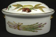 Royal Worcester Evesham Gold Oval Covered Casserole 1-1/2 Qt Flat Handle FLAWS
