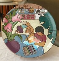 """Judy Miller Studio Art Pottery Kids Playing with Dog & Painting 10.25"""" Plate"""