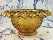FENTON Art Glass Persian Medallion Amber Fairy Lamp Base Ruffled Candy Dish