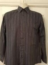 "men's long sleeve dark & light grey striped shirt - size 14.5"" - Thomas Nash"