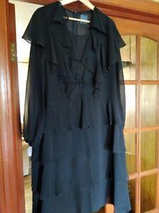 Marina Rinaldi Lovely Black Dress Size 16 Very Good Condition