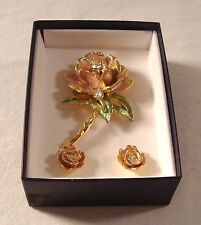 """Princess Dianas"" Franklin Mint ""Englands Rose"" Graziano Brooch Earrings Pin"