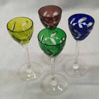 4 Stück Kristallglas/Likörglas mit Facettenschliff, 4 versch.Farben, Höhe 13,5cm