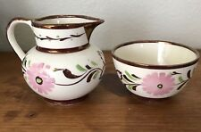 Grays Pottery Creamer Sugar Bowl White Pink Gold Floral Stoke On Trent England